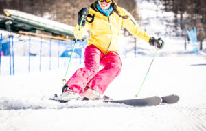Woman Skiing Fast Close Up Moment